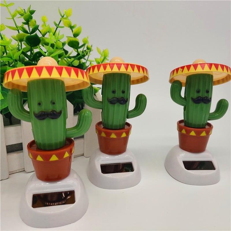 1Pcs Cute Creative Green Cactus Hat Image Children Entertainment Dolls Toys Automatic Swing Solar Toys Automobile Decor Supplies