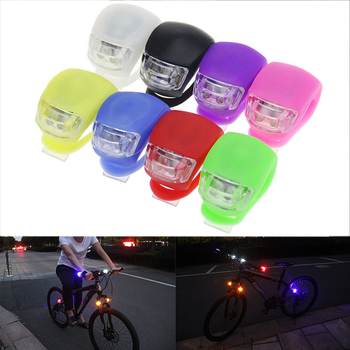 Silicone Bicycle Lights Waterproof LED Front Rear Light with Batteries Bike Wheel Lights Headlight Lamp Bike Bicycle Accessories image