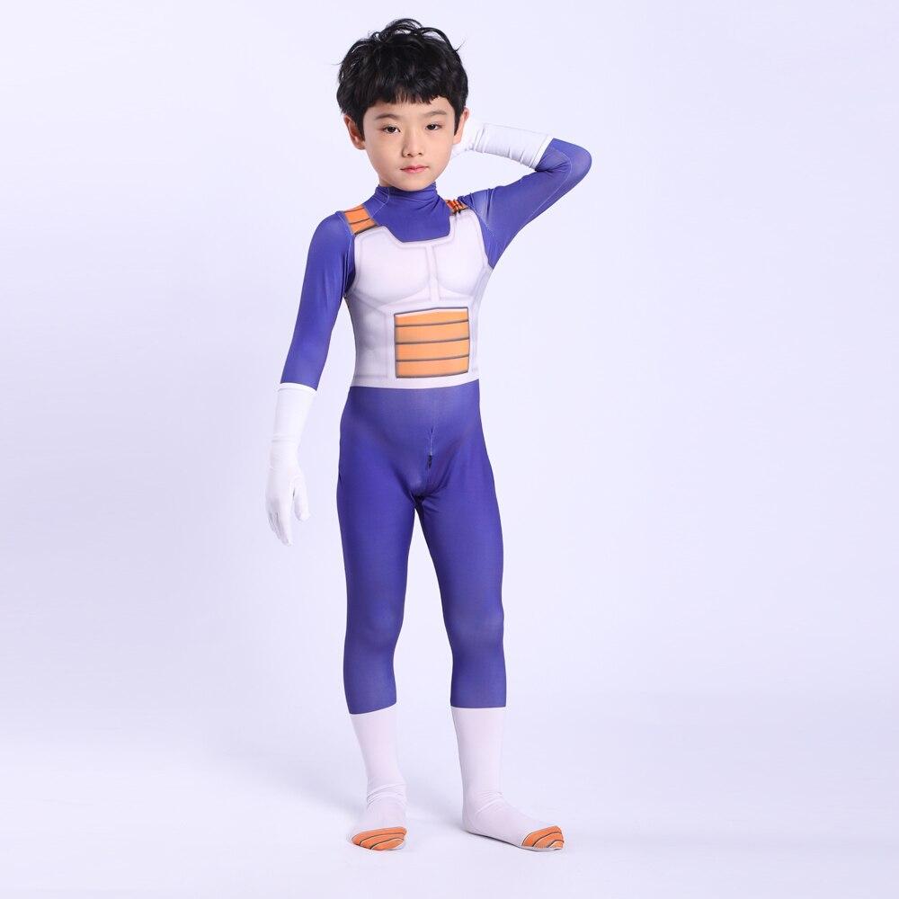 2019 Anime DRAGON BALL Vegeta Cosplay Costume Kids Adult Super Saiyan Battle Spandex Jumpsuits Halloween Costume For Adult Kid