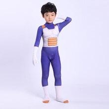 Fantasia de super saiyan para crianças, cosplay do dragon ball vegeta, traje de spandex para adultos e crianças, 2019