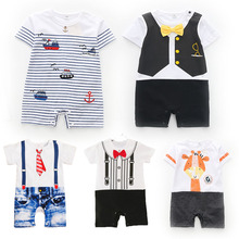 Baby Rompers Summer Style Powered Baby Boy Girl Clothing Newborn Infant giraffe Short Sleeve Clothes 3-6-9-12-18 Months cheap spandex COTTON Print O-Neck Single Breasted Unisex KLo989 Fits smaller than usual Please check this store s sizing info