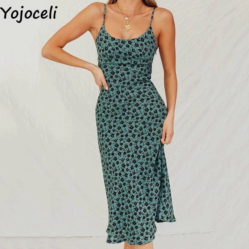 Yojoceli Elegant Floral Print Long Strap Dress Women Summer Beach Casual Basic Dress Female Cool Daily Dress Vestidos