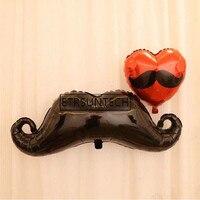 Big Black Mustache Red Lip Balloon Hen Bachelorette Wedding Decoration Party Supplies Beard Heart Balloons