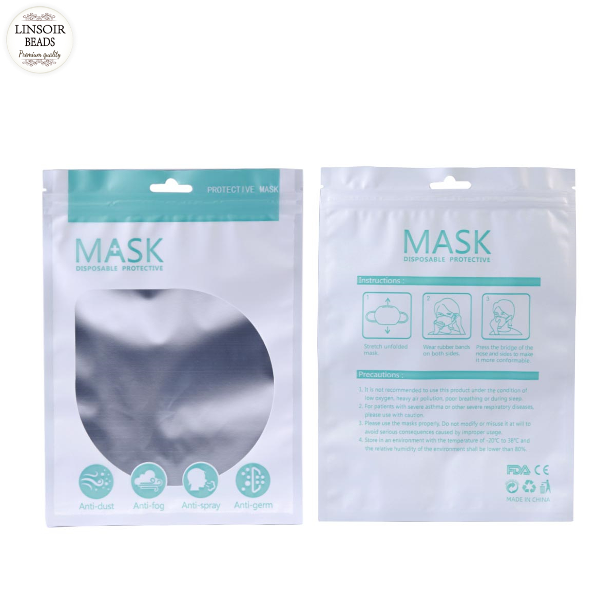 Linsoir 10pcs/lot Disposable Safe Mask Packaging Bag Disposable Face Mask Packaging Bags Transparent Independent Storage Bag