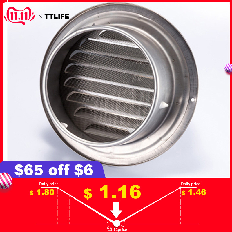 Stainless Steel Ventilation Exhaust Grille Wall Ceiling Air Vent Grille Ducting Cover Outlet Heating Cooling Waterproof Vent Cap