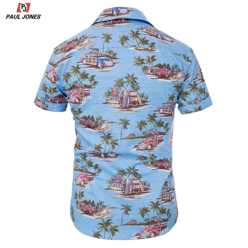 Мужская Повседневная рубашка с цветочным принтом PAUL JONES, 98% хлопок, летняя пляжная гавайская рубашка с коротким рукавом для отдыха, 2020