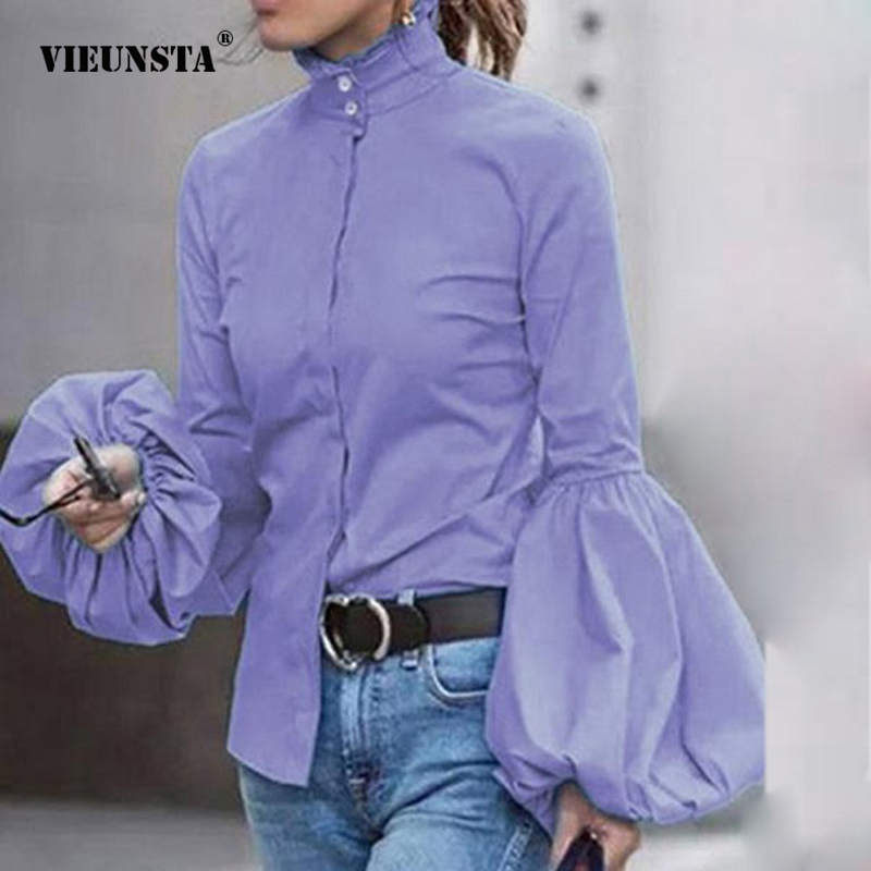 VIEUNSTA Autumn Fashion Stand Collar   Blouse     Shirt   Women Elegant Lantern Long Sleeve Vintage Blusas Office Ladies Solid Tops 2XL