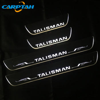 Carptah 4PCS Acrylic Moving LED Welcome Pedal Car Scuff Plate Pedal Door Sill Pathway Light For Renault Talisman 2019 2020 for opel ampera vauxhall acrylic moving led welcome pedal scuff plate pedal door sill pathway light