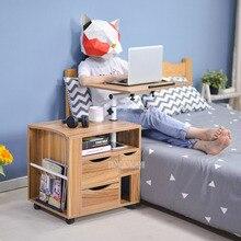 Laptop-Desk-Cabinet Movable Nightstand Bedside Wood No Notebook Desktop Multifunctional