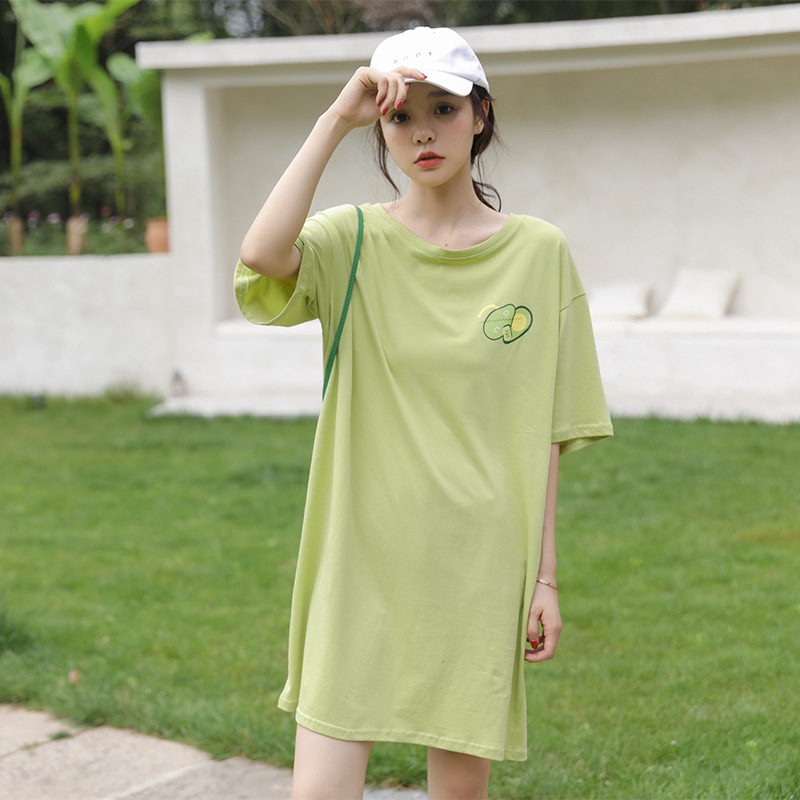 Photo Shoot 2019 Summer Korean-style New Style Avocado Green Matcha Green Printed Pullover Loose-Fit T-shirt Dress Dress Women's