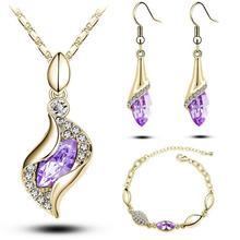 Women Elegant Luxury Design Crystal Drop Earrings+ Pendant +Bracelet Sets Birthday Gifts Jewelry Set