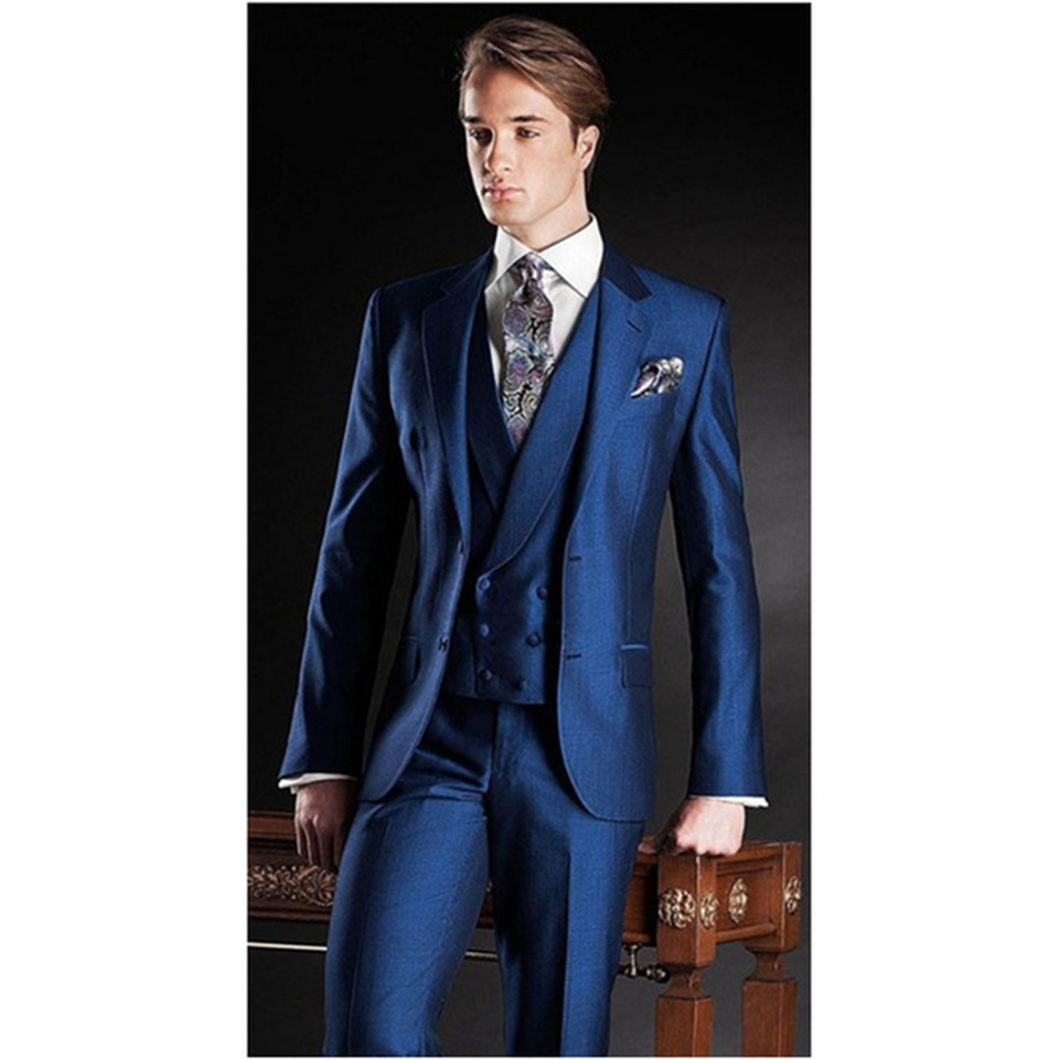 New Classic Men's Suit Smolking Noivo Terno Slim Fit Easculino Evening Suits For Men Blue Wedding Prom Groomsman Best Man Groom