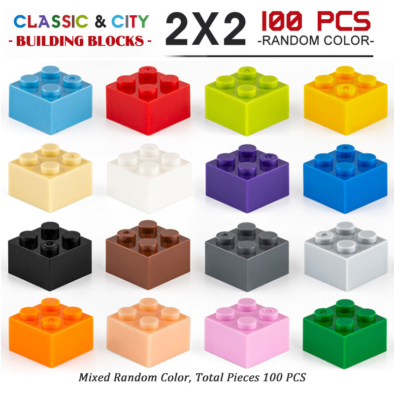 100-500pcs Small Particle High Brick 2x2Building Blocks Parts DIY Block Compatible With Creative Gift Blocks Castle Toys