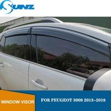 цена на Window Deflector Visor For PEUGEOT 3008 2013 2014 2015 2016 2017 2018 Winodow Visor Vent Shades Sun Rain Deflector Guard  SUNZ
