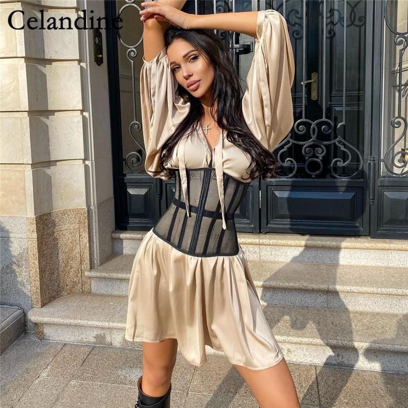 Celandine Long Lantern Sleeve Sexy Shirt Dress Women With Corset Bustier Vintage Party Mini Dresses Fashion Casual Vestdos 2021