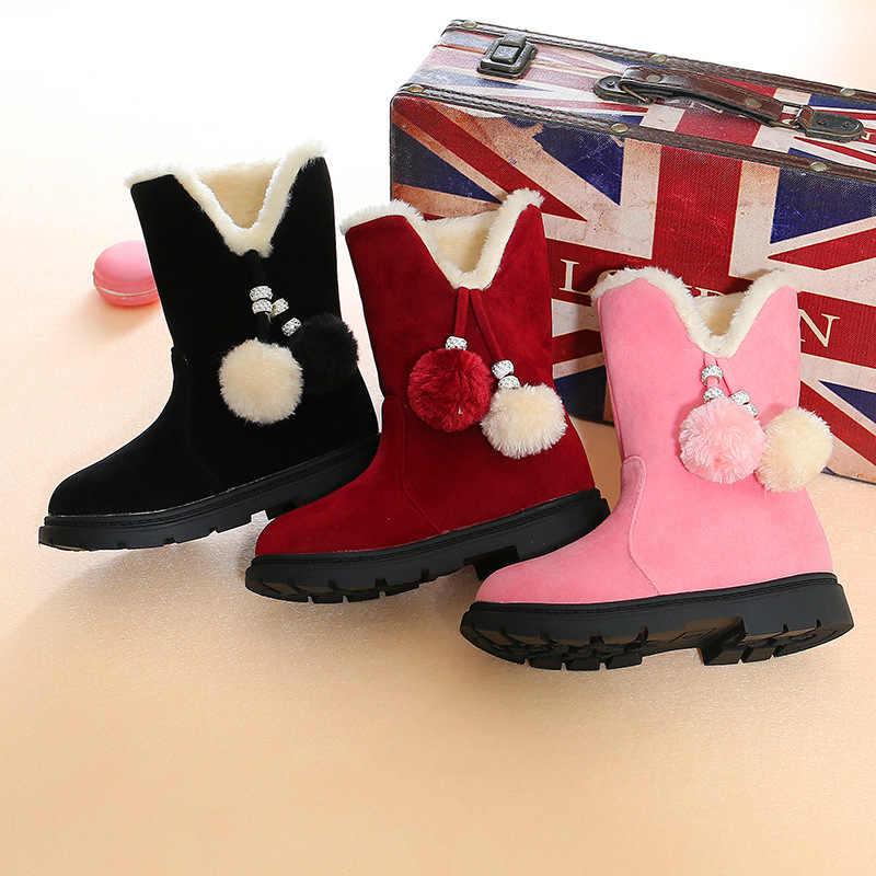Cute Girls Winter Boots Size 26-37 Winter Warm Velvet Girls Boots Children's High Boots Little Girl Princess Fashion Boots