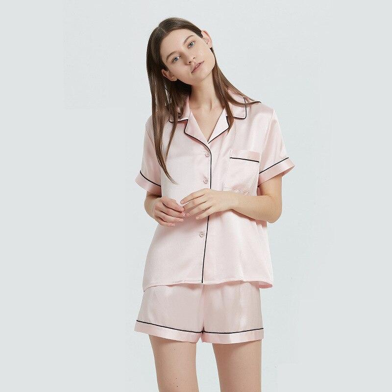 19 Momme 100% Real Silk Pajamas for Women Short-Sleeved Sleepwear Shorts Pajamas Set 2-Piece Set Nightwear Solid Pijama De Mujer