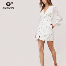 ROHOPO Lavender Floral Double Layers Long Sleeve Straight White Mini Dress Lantern Buttons Fly Chiffon  Vestido #9166