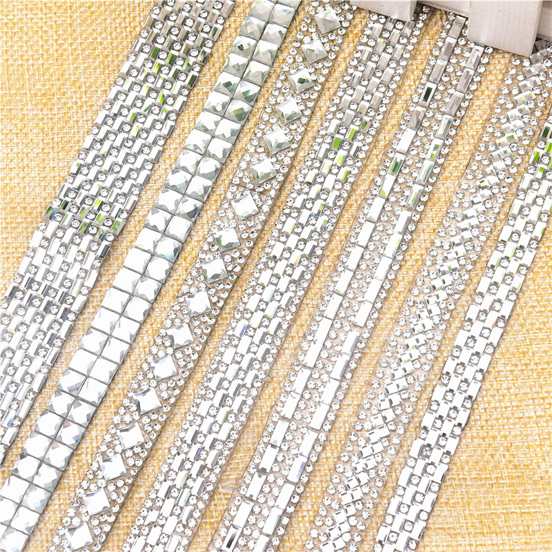 Hot Fix 2yards/lot Rhinestone Trimming,square Rectangle Fancy Stone Decorative Shinning Shoes Accessories,weddingcake Chain Band