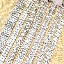 Горячая фиксация 2 ярдов/партия Стразы обрезки, квадратный прямоугольник Необычные каменные декоративные сверкающие аксессуары для обуви, свадебная цепочка для торта