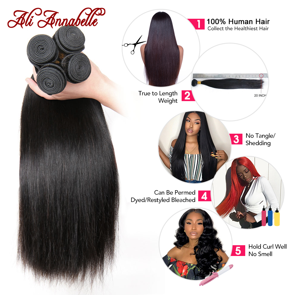 ALI ANNABELLE Straight Hair Bundles Human Hair Bundles 34 32 30 28 Inch 1 3 4 Bundles Deals Natural Brazilian Hair Weave Bundles 2