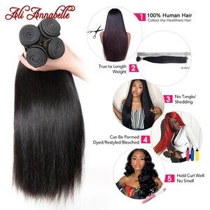 Image 3 - Feixes de cabelo reto peruano 1/3/4 pçs em linha reta feixes de cabelo humano 10 36 polegada cabelo longo ali annabelle remy extensões de cabelo