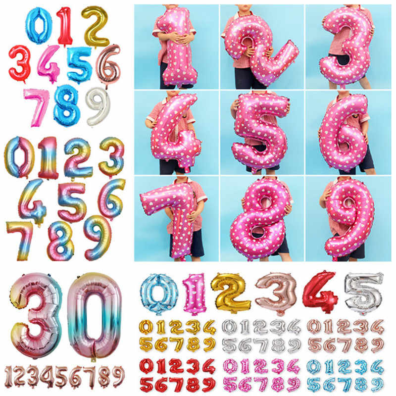 32 40 inch Baby 1st Birthday Balloon Set Rose Gold Big Number Foil Balloons Wedding Birthday Party Decoration Kid Party Supplies