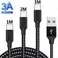 Кабель зарядный USB Type-C, 1/2/3 м, 3 А, для Samsung Galaxy S10/S10e/S9/S8 Plus/A70/A80/A50/A20S/Note 9/8/1/2/3 метра