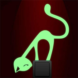 Cute Naughty cat Luminous Switch wall Sticker Living room bedroom Glow in the dark decoration home decals fluorescent stickers