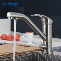 Frap torneira da cozinha de níquel escovado 360 rotação torneira da pia da cozinha com água filtrada torneiras misturadoras torneira da pia da cozinha