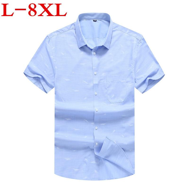 Plus Size 8XL 7XL Men's Short-sleeved Print Shirt Summer England Shirt Mens Slim Fit Casual Shirts Short Sleeve Shirts Male