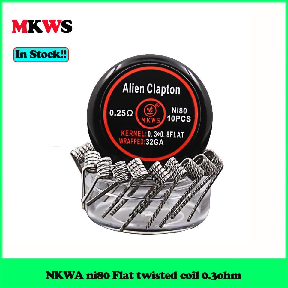 10pcs MKWS Alien Clapton Wires 0.25ohm Flat Twisted Coil 0.3ohm Ni80 Flat Clapton Wire 0.6ohm 28ga 32ga For RDA RTA RDTA Tank