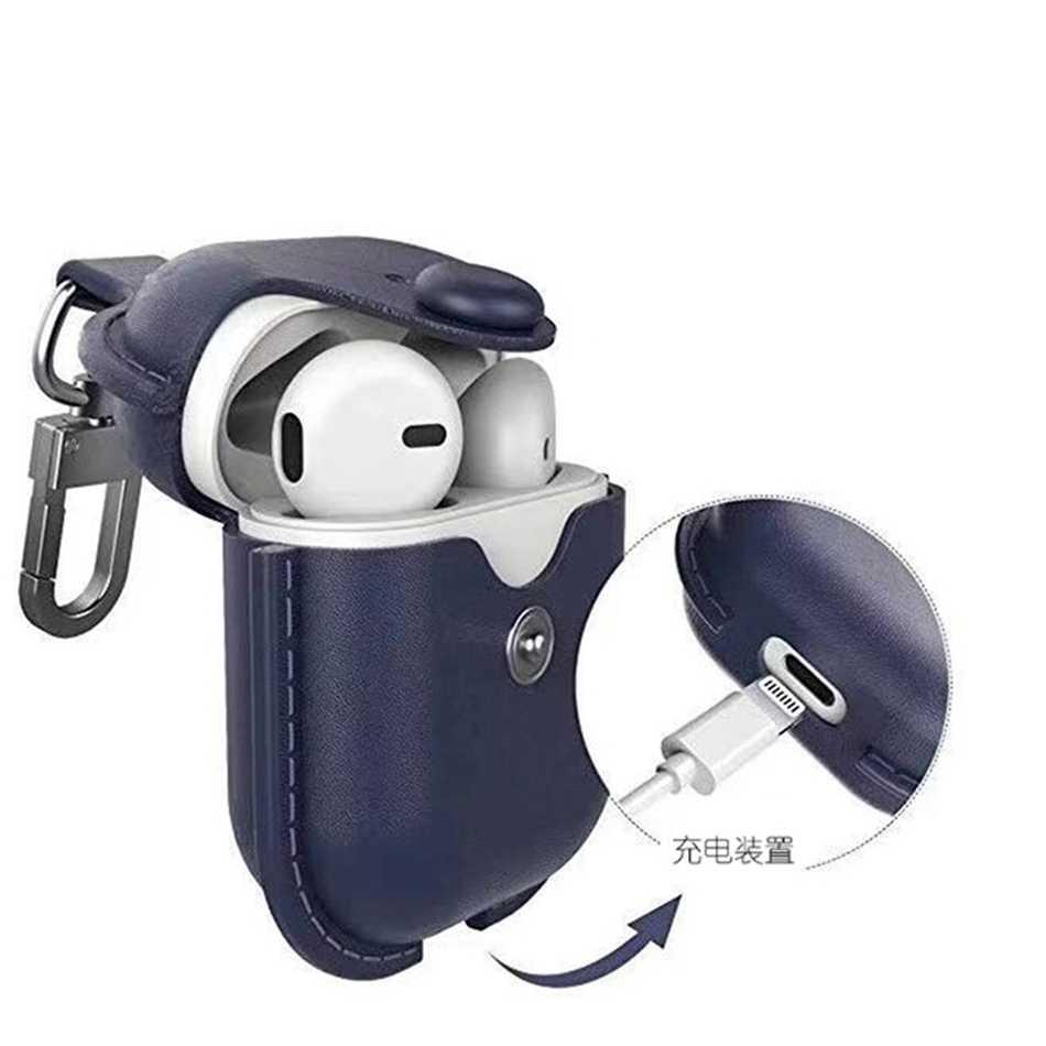 หูฟังสำหรับ Airpods ซองหนังของแท้สำหรับ Apple AIR pods 2 กรณี EarPods อุปกรณ์เสริมหูฟังสายคล้องกระเป๋า