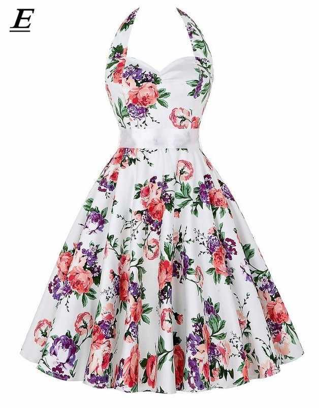 Polka Dot vestido Halter vestido de fiesta Hepburn Vintage 50S 60S Pin Up Rockabilly vestidos túnica de talla grande elegante vestido de verano