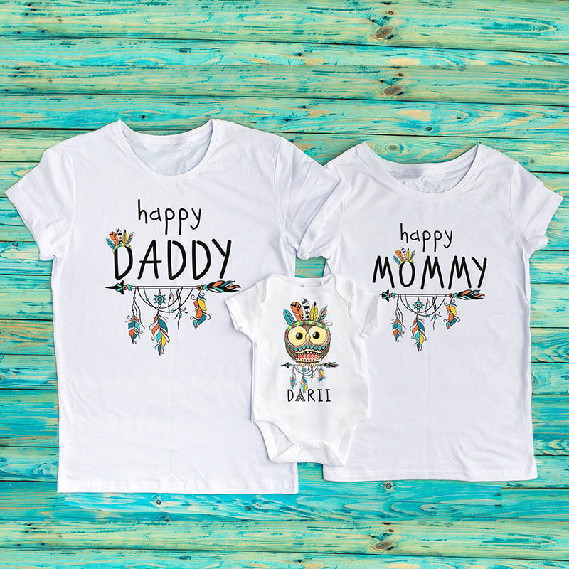 Tribal matching T-shirts Happy daddy/mommy Happy baby owl bodysuit or t-shirt Arrows shirt Family shirts