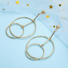 contracted geometric hollow metallic ring combination personality Europe and the United States long earrings earrings europe and the united states simple fashion gold silver hollow six angle star bracelet hollow geometric bracelet female girl jew
