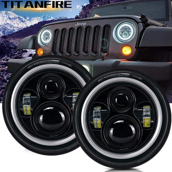 ZK30 60W 7inch Round H4 Led Headlight Hi/Lo Beam Light Halo Angle Eyes DRL Headlamp For Jeep Wrangler Off Road 4x4 Motorcycle