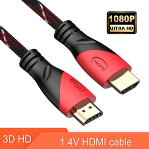 HDMI Cable 1.4V Gold Plated Adapter Male to Male HDMI to HDMI Cable with Red blue for Tv box LCD TV PC(China)