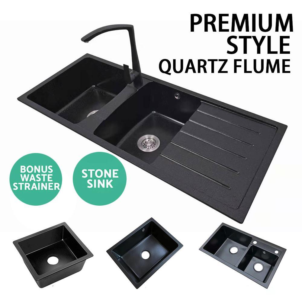 Quartz SinkHousehold Black Kitchen Quartz  Frosted Double Slot Sink Vegetable Bowl Dish Washing Basin Above Counter Orundermount