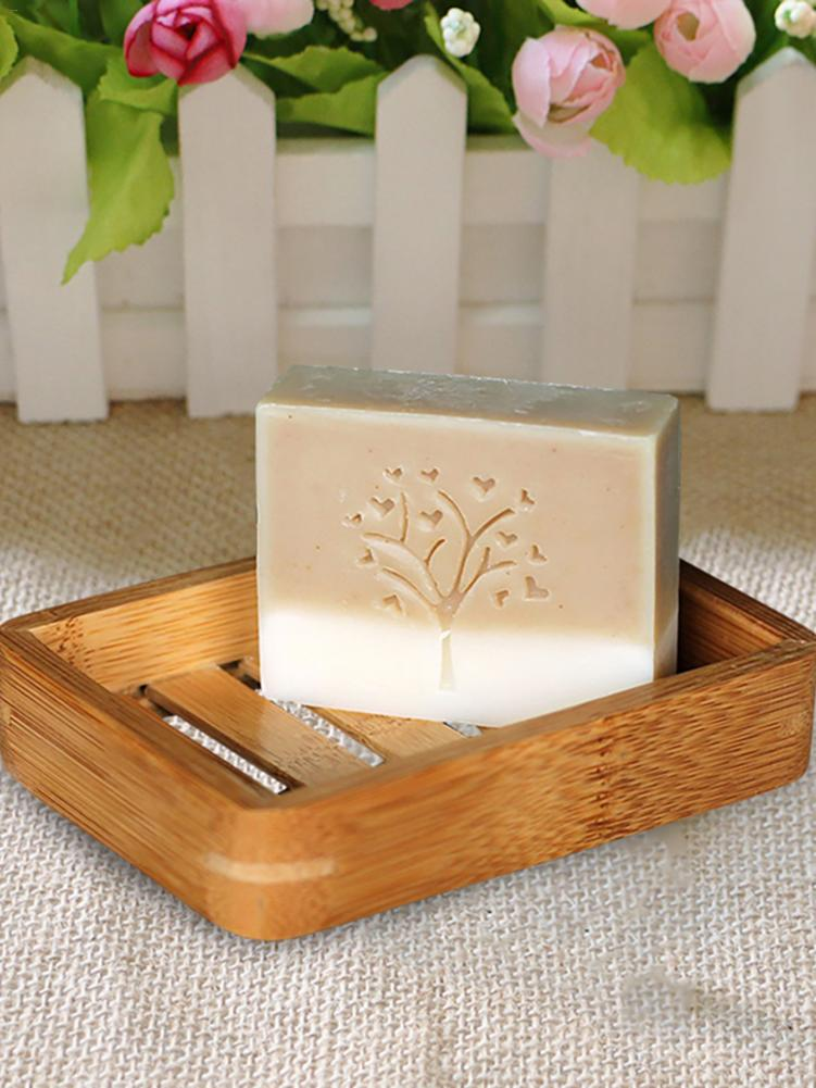 Simple Wooden Bamboo Soap Tray Holder Portable Storage Soap Rack Plate Container Bathroom Soap Dish Storage Box