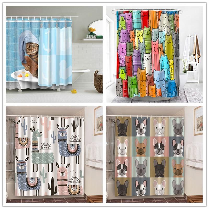 Декоративная занавеска для ванной с принтом кошки для купания, альпака, бульдог, водонепроницаемая полиэфирная ткань, занавеска для ванной,...