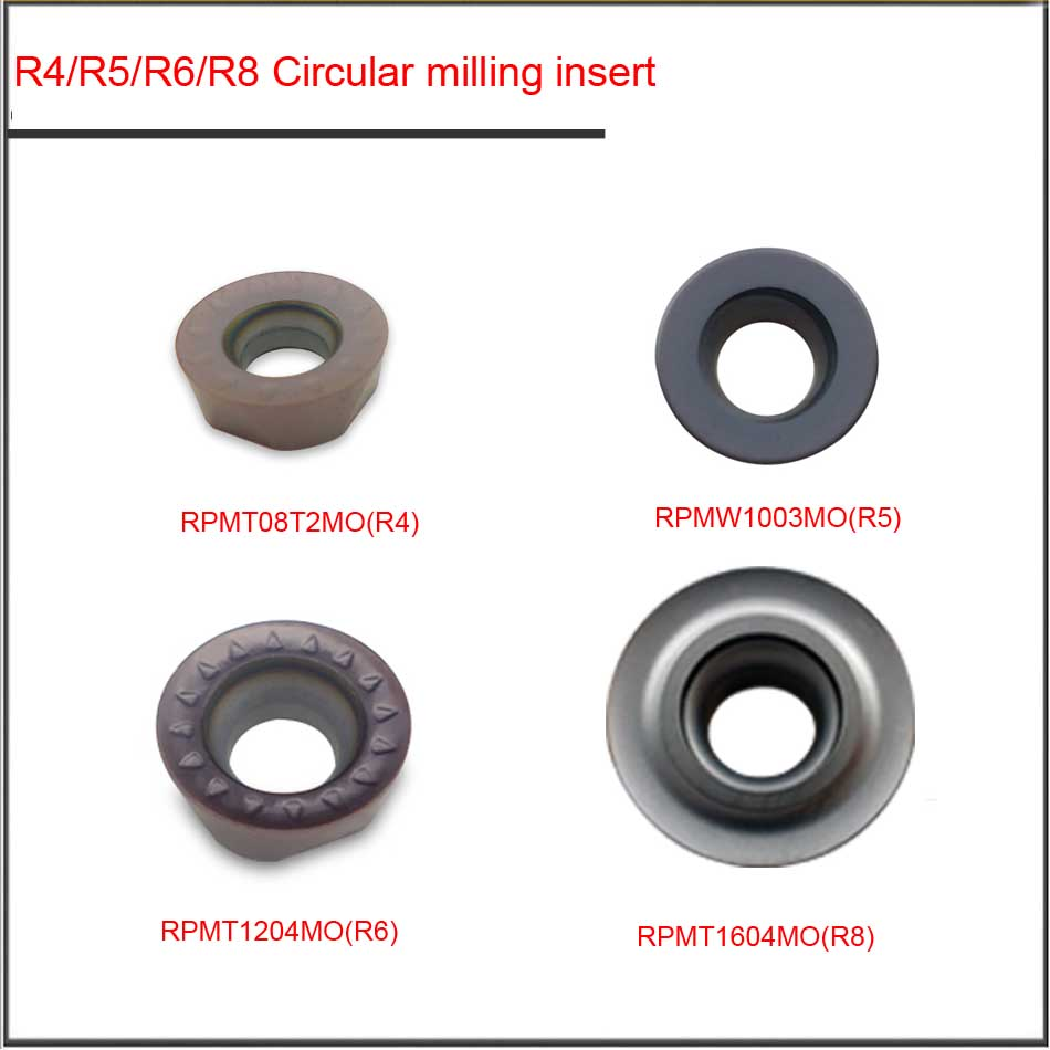 10PCS RPMT08T2MO RPMW1003MO  RPMT1204MO RPMT1604MO P201F R4 R5 R6 R8 Cemented Carbide Round Blade Planar Roughing Milling Insert