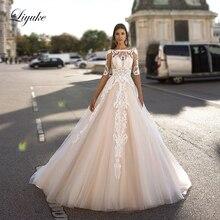 Liyuke декольте линии свадебное платье с нежным кружевом платье для невесты без спинки