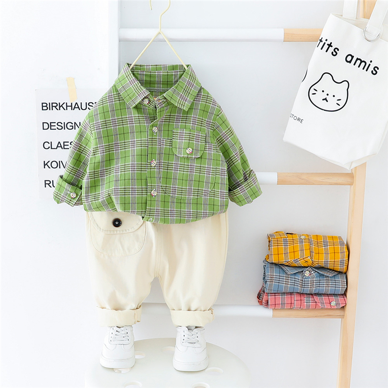 HYLKIDHUOSE Baby Boys Clothing Sets 2020 Spring Toddler Infant Clothes Sets Plaid Shirt Pants Children Casual Vacation Clothing