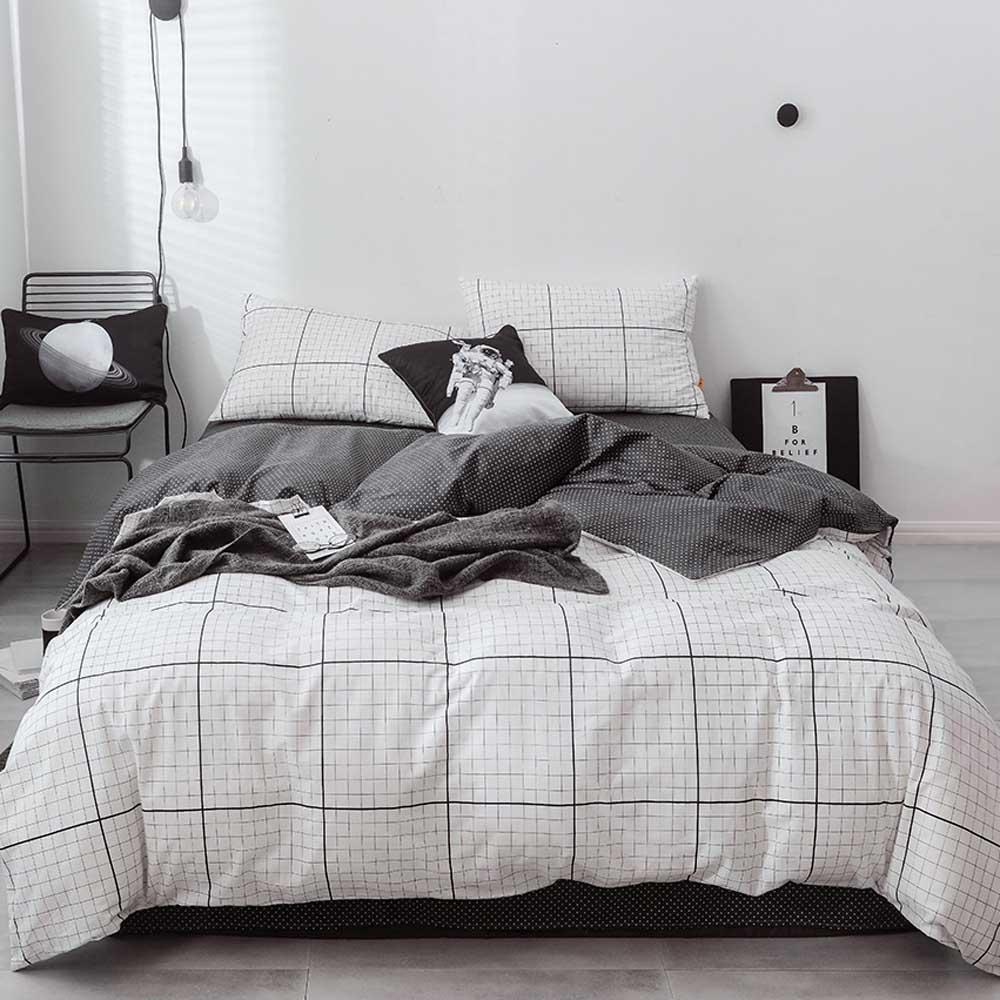 King Queen Size Double Sided Comforter Bedding Sets Grid Men Female Bed Linen Black White Striped Bed Duvet Cover Pillow Set