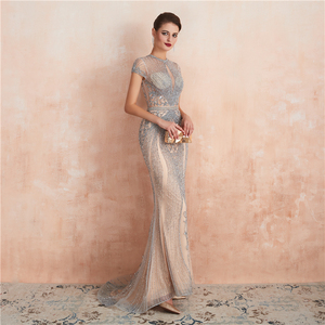 Image 3 - New Arrivals In Stock Luxurious Sexy Formal Evening Dresses Crystal Beaded Robe De Soiree  Real Photos WT5553