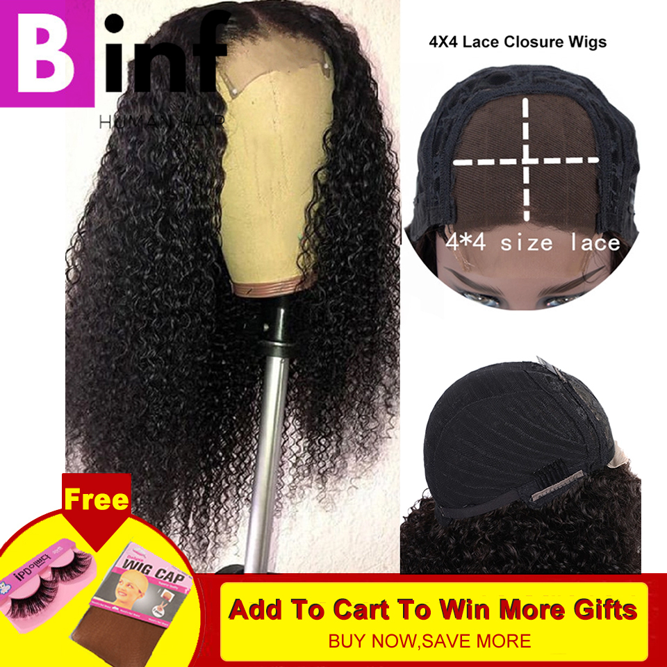 BINF 4x4 Lace Closure Wig Brazilian Kinky Curly Lace Human Hair Wigs For Black Women Remy Lace Closure Wigs With Baby Hair