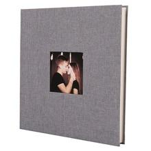 Льняная Обложка фотоальбом самоклеящаяся пленка DIY ручной работы скрапбук память фото книга липкий тип серый домашний декор