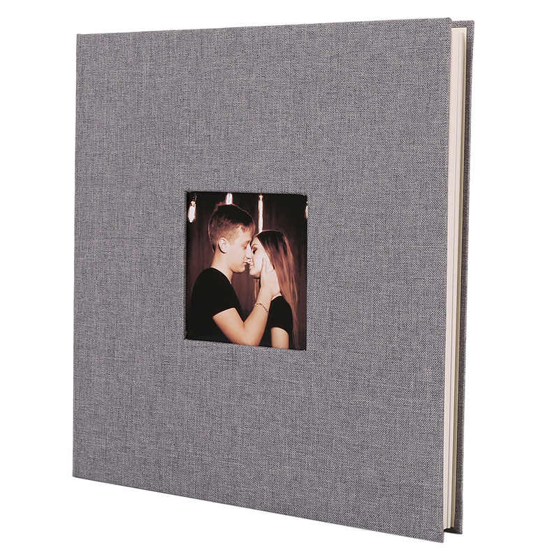 Linen Cover Picture Album Self-adhesive Film DIY Handmade Scrapbook Memory Photo Book Sticky Type Grey Home Decor