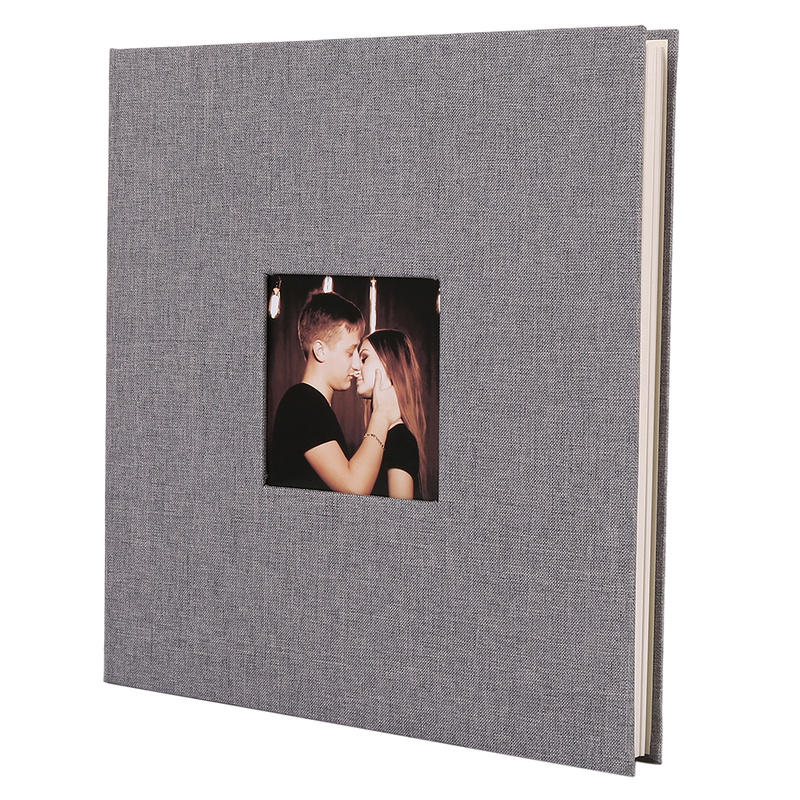 Linen Cover Picture Album Self-adhesive Film DIY Handmade Scrapbook Memory Photo Book Sticky Type Grey Home Decor image